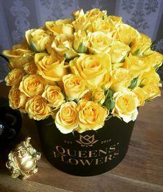 Queen Alexandra praises the sun! Full of yellow luxury Roses.  www.queensflowers.lv Luxury flower boutique in Latvia.