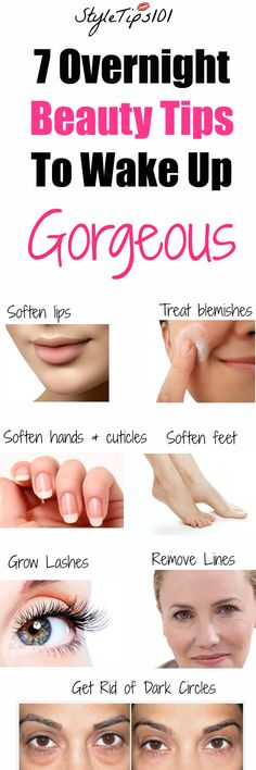 If you're one of those people that skips their before bed beauty ritual, we're here to convince you to stop! These 7 overnight beauty tips will help you wake up to the true goddess that Beauty Tips For Skin, Beauty Secrets, Beauty Tips And Tricks, Beauty Products, Face Products, Health And Beauty Tips, Health Tips, Skin Care Regimen, Skin Care Tips