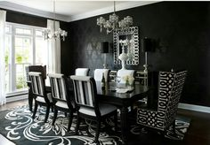 Architecture, Victorian Gothic Home Interior Design Black And White Dining Room Wallpaper: 9 Method to Reach a Victorian Gothic Inspired Home design Gothic Interior, Gothic Home Decor, Interior Design, Room Interior, Interior Office, Interior Colors, Modern Interior, Modern Decor, Luxury Dining Room