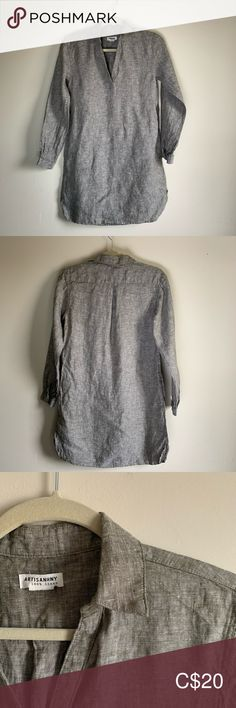 Artisan NY Linen Dress Linen Dress -Has pockets -Button closure at sleeves -Never Worn/Excellent condition Artisan Ny Dresses Long Sleeve Plus Fashion, Fashion Tips, Fashion Trends, Green And Grey, Gray Color, Closure, Pockets, Button