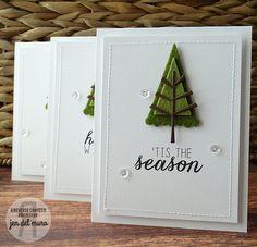 Card by Jen del Muro. Reverse Confetti stamp set: Seasonal Sentiments. Confetti Cuts: Branch Out. Christmas card.