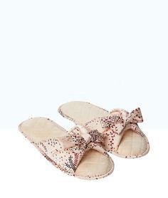 Tongs chaussons imprimées, détails noeuds - Chaussons - Les accessoires - Lingerie de nuit