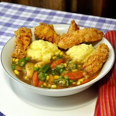Fried Chicken Stew with Corn Flour Dumplings - Rock Recipes -The Best Food & Photos from my St. Chicken Stew And Dumplings, Flour Dumplings, Rock Recipes, Best Chicken Recipes, Roasted Vegetables, Soup And Salad, Fried Chicken, Soups And Stews, Food For Thought