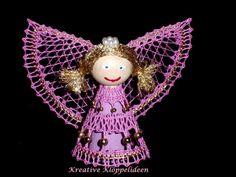 Handgeklöppelter Engel in rosa und gold Advent, Bobbin Lace, Christmas Ornaments, Holiday Decor, Handmade, Image, Tulips, Xmas, Lace