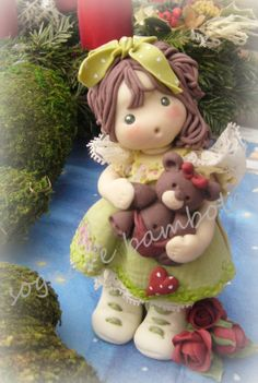bambolina con bear porcellana fredda,pasta mais,dolls.