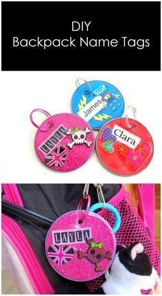 DIY Upcycled Backpack Name Tags made from juice can lids - northstory.ca
