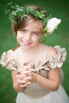 #FlowerGirl - Beautiful Neckline! On SMP -- http://www.StyleMePretty.com/2013/11/13/minnesota-wedding-from-emily-steffen-photography/ Emily Steffen Photography