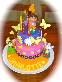 New Year 2012 arrived and with it Charlotte's fourth birthday. A Dora cake was chosen for the party. Bright colours the order of the day t. Fourth Birthday, Birthday Parties, Birthday Cake, Dora Cake, Dora The Explorer, Cake Decorating, Decorating Ideas, Party Cakes, Cake Cookies