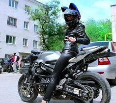 cat ear motorcycle helmet female biker