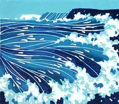 Linocut block print of English coastline by North Yorkshire Printmaker Lynne Roebuck