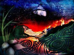 "Khusrau (the bride) spends the eve of her wedding Awake with her Beloved, The body belongs to her, But Heart to the Beloved, The two become One.  Original Verses:  Khusrau raen suhaag ki, Jaagi Pi ke sung, Tan mero man pi-u ko, Dovu bhaye ek rung.  *Beloved Master Amir Khusrau ""Q.S.A"" *Artwork-Dig: Father Sky and Mother Earth by ambiantnight ஜ۩ Love ۩ஜ https://www.facebook.com/modalineproduction/photos/a.1079237638766740.1073741869.162666620423851/1347583495265485/?type=3&theater"