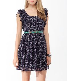 Ruffled Ditsy Tulip Dress | FOREVER21 - 2000038111