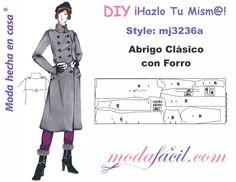Descarga gratis los moldes del abrigo clásico con forro para mujeres disponible en 14 tallas listas para cortar desde las extradelgadas hasta las extragrandes