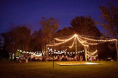 String lights to create a beautiful tent. Looks like paper lanterns in the backyard. Both available here: http://www.partylights.com/Strings-Bulbs/C9-Strings-Bulbs