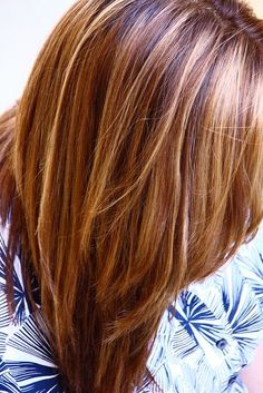 Warm Brown with blonde and honey highlights by Linda Mariano