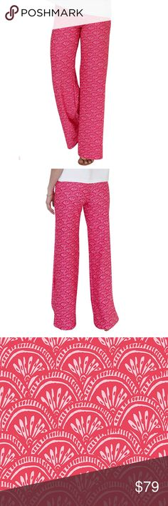 """Kaeli Smith """"Tucker"""" Wide Leg Palazzo Pants With easy and comfortable pull-on style, our Tucker Wide Leg Palazzo Pant is one you'll wear again and again--for both casual and dressier days. The thick waistband resists rolling and our signature Lush Knit fabric moves with you throughout a busy day. And, with wrinkle-free fabrication, these chic palazzo pants are a travel wardrobe essential.   Our Déjà Vu print is a classic feminine scallop pattern of rich rose red and white.   MADE IN THE USA…"""