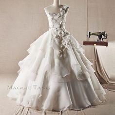 Maggie Tang Strapless Ball Gown Duchess Bride Wedding Dress Custom Made Sz34 42 | eBay
