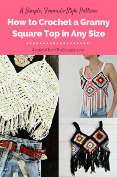 Crochet Square Patterns How To Crochet A Granny Square Crop Top In Any Size - Everyone loves a granny square! And with this foolproof formula for crafting a crochet top out of just 8 squares, you'll have even more reason to save those ya Granny Square Crochet Pattern, Crochet Squares, Crochet Granny, Crochet Patterns, Knit Crochet, Crochet Fringe, Granny Square Häkelanleitung, Granny Squares, Granny Square Sweater