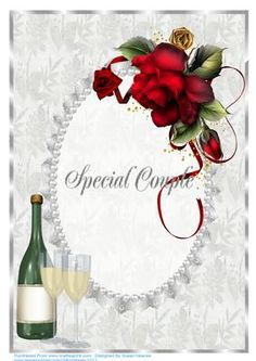 A lovely Silver Floral card front, with a Silver Co-ordinating Border, Lace and Pearl Frame. A Bottle of Champagne and two Glasses in one corner and Beautiful Red Drama Roses in the opposite. This will make a very pretty A4 Silver Anniversary card.