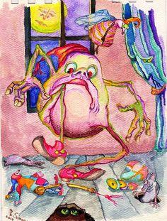 """Night Fears"" original watercolor illustrations from artist Marina Sciascia (USA)"