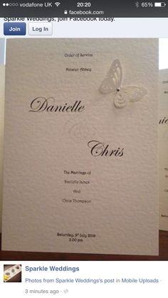 Wedding order of service from sparkle weddings  https://m.facebook.com/Sparkle-Weddings-105768253100632/