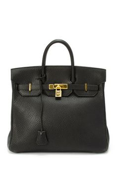 Vintage Hermes Leather Haut a Courroies 32 Stamp Circle Z Gold Hardware Handbag  by LXR on @HauteLook