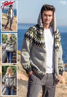 Your new favourite sweater! Knit it in Raggi. Cowichan Sweater, Knit Cardigan, Men Sweater, Crochet Men, Raincoat, Winter Jackets, Graphic Sweatshirt, Sweatshirts, Pattern