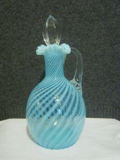 Vintage Glass Cruets | Cruet - VIntage Fenton Glass - Blue Spiral Optic Opalescent