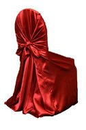 Universal Satin Self Tie Chair Cover - Apple Red