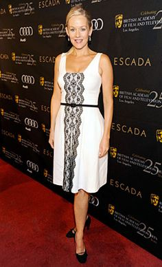 Love the black lace down a white dress with the square neckline. Penelope Ann Miller, David Meister, Curvy Fashion, Red Carpet, White Dress, Guest List, Formal Dresses, Lace, Tea Party
