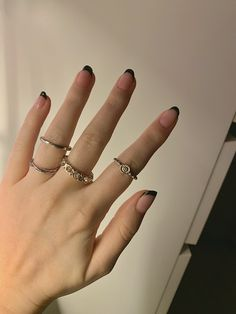 rings edgy black french manicure black tip nails black french manicure aesthetic girl whirl vibes multi ring accessories trending Acrylic Nails Coffin Ombre, French Acrylic Nails, Summer Acrylic Nails, Coffin Nails, Ear Piercing Diagram, Stylish Nails, Edgy Nails, Gel French Manicure, Cow Nails
