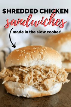 Crockpot Hot Shredded Chicken Sandwich Recipe Shredded chicken sandwiches made in the crockpot using stovetop stuffing and Ritz crackers. This shredded chicken sandwich recipe feeds a crowd! Shredded Chicken Sandwiches, Slow Cooker Shredded Chicken, Shredded Chicken Recipes, Healthy Sandwiches, Subway Sandwich, Chicken Taco Recipes, Crockpot Recipes, Recipe Chicken, Lemon Chicken