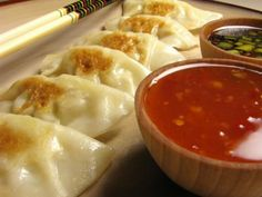 I LOVE pot stickers!  And there's a soy dipping sauce recipe here too :)