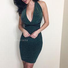 Green Metallic Halter Neck Dress // available at emprada.com Shop: emprada.com