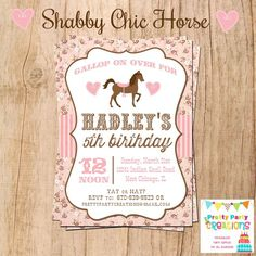 Cowgirl Birthday Party Invitation Vintage Horse Girls Party