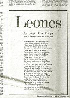 Borges todo el año: Jorge Luis Borges: Leones - Imagen: facsímil en La Nación