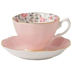 Royal Albert Rose Confetti Vintage Teacup and Saucer (1,350 PHP) ❤ liked on Polyvore featuring home, kitchen & dining, drinkware, filler, pink teacup, vintage teacups, rose tea cup, vintage bone china tea cups and vintage bone china