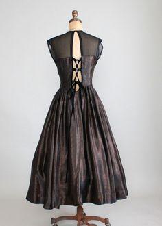 Vintage 1950s Bronze Shimmer Corset Back Party Dress