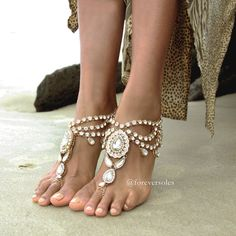 Ladies jewelled gold barefoot sandals. Wedding jewellery. Sold as pair. Enchanted Gold B1412