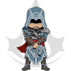 Assassin's Creed Revelations: Ezio Chibi Graffiti Characters, Chibi Characters, Chibi Games, Assassins Creed Costume, Assessin Creed, Marvel Drawings, D Gray Man, Gaming Wallpapers, Action Poses