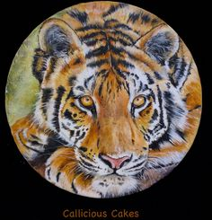 Tiger hand painting class http://www.designer-cakes.com/online-cake-decorating-courses/tiger-plaque?affiliates=52