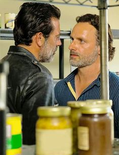 """Andrew Lincoln as Rick Grimes and Jeffrey Dean Morgan as Negan - The Walking Dead Season Episode 4 """"Service"""" Walking Dead Tv Series, Walking Dead Funny, Walking Dead Season, Fear The Walking Dead, Team Negan, Daryl And Rick, Ricky Dicky, Jeffrey Dean Morgan, Andrew Lincoln"""