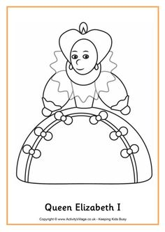 queen elizabeth i colouring page