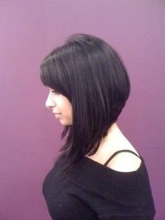 Long angled bob. But a little longer for the back and colour is different
