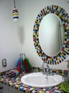 Bijou multi colored glass tile bathroom sink and mirror close up. Glass Tile Bathroom, Glass Mosaic Tiles, Bathroom Colors, Bathroom Gallery, Bathroom Pictures, Bathroom Ideas, Mosaics For Kids, Simple House Design, Beautiful Bathrooms
