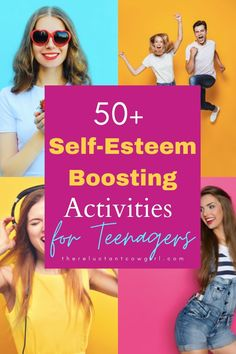 Self-esteem activities for teenagers. Want to encourage your teenager and build their confidence and self-esteem? Then this is THE workbook you need! Tons of fun and thought provoking activites and reflection exercises to boost self-love. Also great for teachers, youth leaders and counselors. #selfesteem #selfesteemactivities #selflove #confidentkids #activitesforteenagers