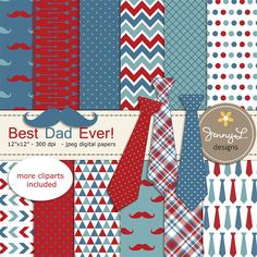 Father's Day Digital papers and Clipart by JennyLDesignsShop