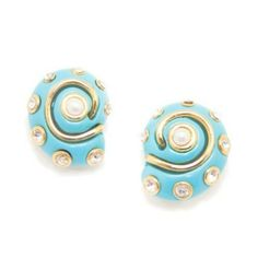 LOVE LOVE LOVE THESE...but I can only find them on clip on so I googled how to make clip on into pierced...I will be doing it. Kenneth Jay Lane Jewelry Snail Shell Clip On Earrings Turquoise Resin with Crystal, Pearl and Gold KennethJayLane, http://www.amazon.com/dp/B006GFTGAS/ref=cm_sw_r_pi_dp_5y6Ypb1V6FTNX