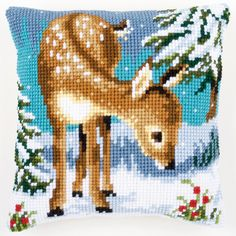 Little Deer in the Snow - Cross-stitch cushion - Vervaco