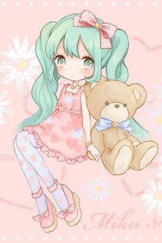 Miku Hatsune and her bear Art Kawaii, Kawaii Chibi, Cute Chibi, Kawaii Anime Girl, Kawaii Stuff, Lolis Anime, Anime Art, Kawaii Drawings, Cute Drawings